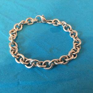 "Tiffany & Co 925 SS Charm 7.5"" Small Link Bracelet"
